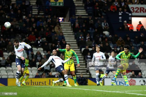 Matheus Pereira of West Bromwich Albion fires a shot from distance during the Sky Bet Championship match between Preston North End and West Bromwich...