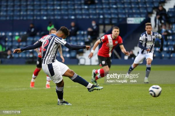 Matheus Pereira of West Bromwich Albion scores a goal to make it 1-0 from the penalty spot during the Premier League match between West Bromwich...