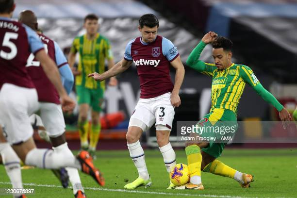 Matheus Pereira of West Bromwich Albion scores a goal to make it 1-1 during the Premier League match between West Ham United and West Bromwich Albion...