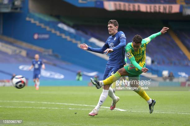 Matheus Pereira of West Bromwich Albion scores a goal to make it 1-2 during the Premier League match between Chelsea and West Bromwich Albion at...