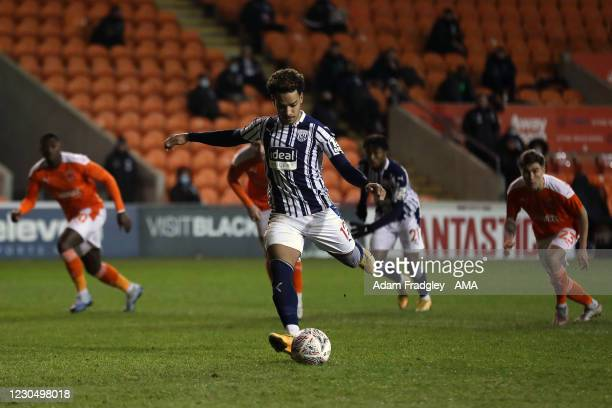 Matheus Pereira of West Bromwich Albion scores a goal to make it 2-2 from the penalty spot during the FA Cup Third Round match between Blackpool and...