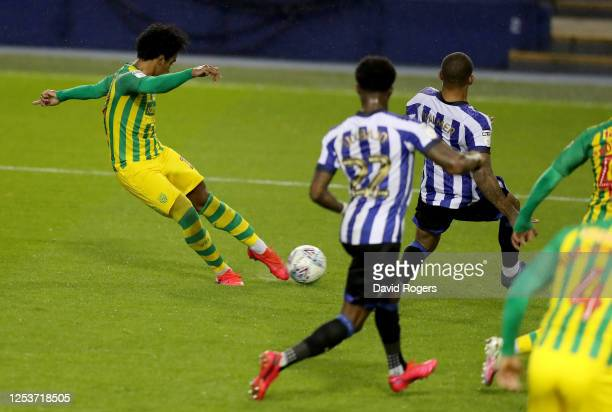 Matheus Pereira of West Bromwich Albion scores his second goal during the Sky Bet Championship match between Sheffield Wednesday and West Bromwich...