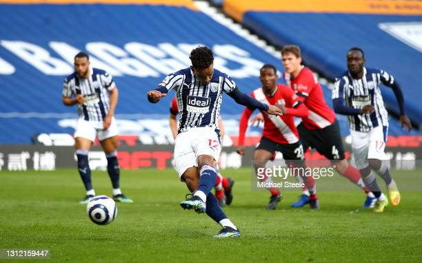 Matheus Pereira of West Bromwich Albion scores their sides first goal from the penalty spot during the Premier League match between West Bromwich...