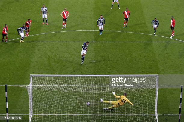 Matheus Pereira of West Bromwich Albion scores their sides first goal from the penalty spot past Fraser Forster of Southampton during the Premier...