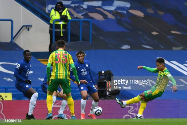 Matheus Pereira of West Bromwich Albion scores their team's second goal during the Premier League match between Chelsea and West Bromwich Albion at...