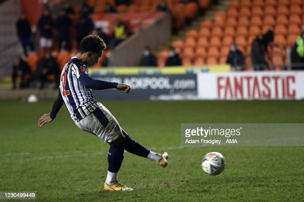 Matheus Pereira of West Bromwich Albion takes the final penalty but his shot fails to score during the FA Cup Third Round match between Blackpool and...