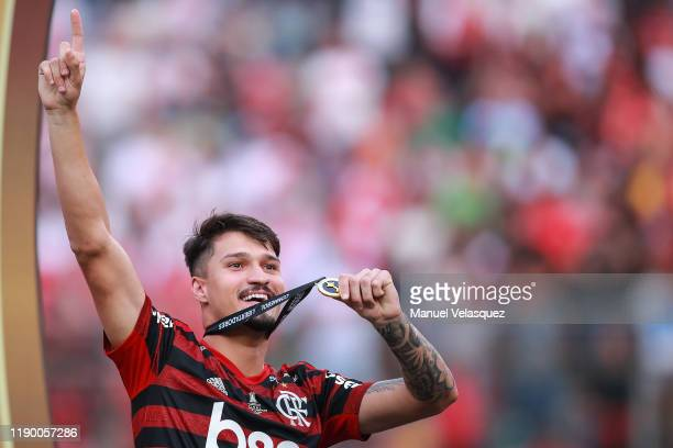 Matheus Soares of Flamengo celebrates the victory after winning the final match of Copa CONMEBOL Libertadores 2019 between Flamengo and River Plate...