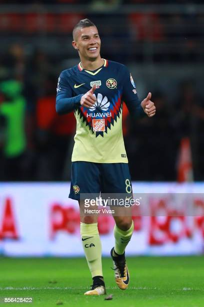 Mateus Uribe of America celebrates after scoring the second goal of his team during the 12th round match between Toluca and America as part of the...