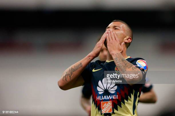 Matheus Uribe of America celebrates after scoring the second goal of his team during the 7th round match between America and Monarcas as part of the...