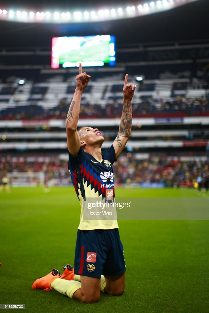 Matheus Uribe of America celebrates after scoring the third goal of his team during the 7th round match between America and Monarcas as part of the Torneo Clausura 2018 Liga MX at Azteca Stadium on February 13, 2018 in Mexico City, Mexico.