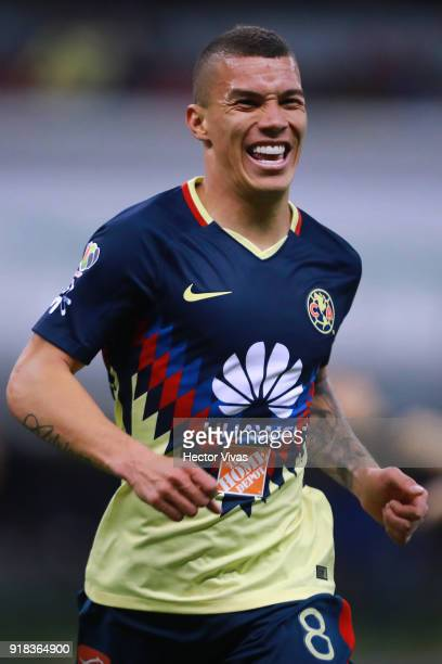Matheus Uribe of America celebrates after scoring the third goal of his team during the 7th round match between America and Monarcas as part of the...