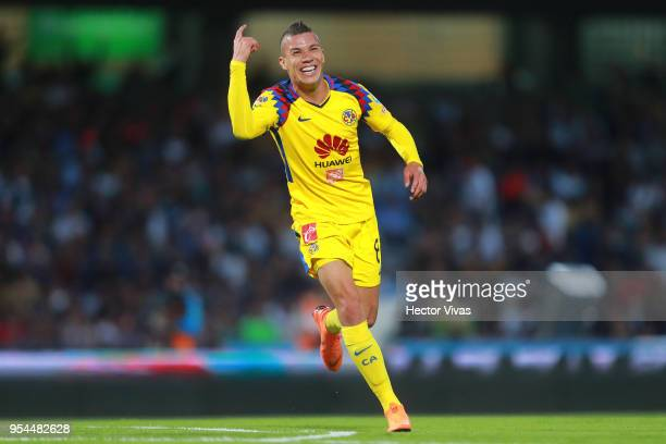 Matheus Uribe of America celebrates after scoring the third goal of his team during the quarter finals first leg match between Pumas UNAM and America...