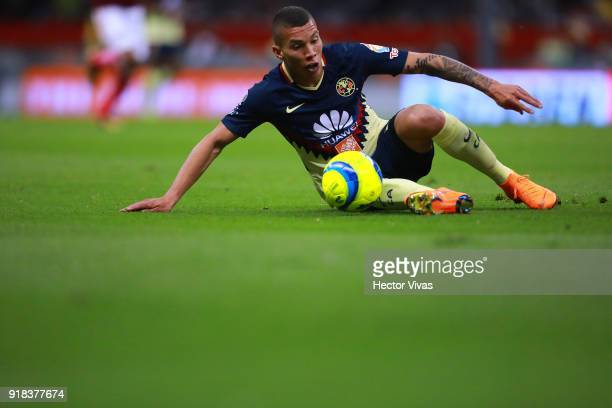 Matheus Uribe of America drives the ball during the 7th round match between America and Monarcas as part of the Torneo Clausura 2018 Liga MX at...