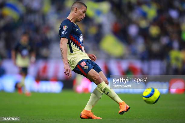 Matheus Uribe of America kicks the ball during the 7th round match between America and Monarcas as part of the Torneo Clausura 2018 Liga MX at Azteca...