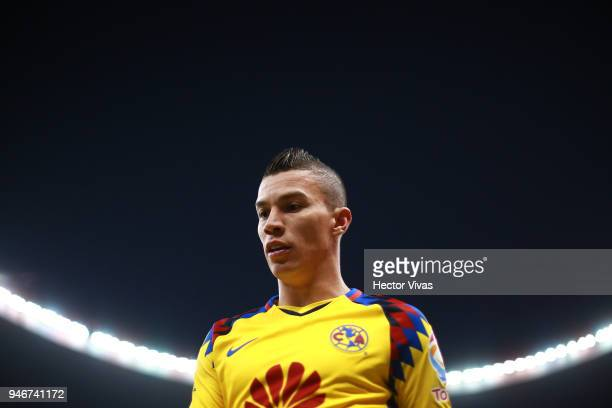 Matheus Uribe of America looks on during the 15th round match between America and Monterrey as part of the Torneo Clausura 2018 Liga MX at Azteca...