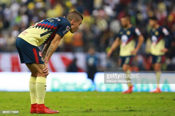 Mateus Uribe of America reacts at the end of the semifinal first leg match between America and Tigres UANL as part of the Torneo Apertura 2017 Liga...