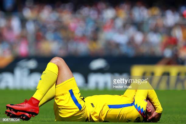 Matheus Uribe of America reacts during the 3rd round match between Pumas UNAM and America as part of the Torneo Clausura 2018 Liga MX at Olimpico...