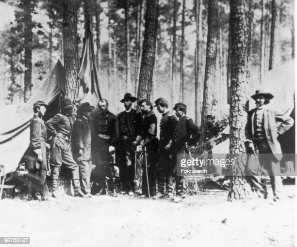 Mathew B Brady American Civil War photographer pictured beside tree Location unknown USA circa 1861