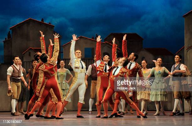 Mathew Ball as Espada with artists of the company in The Royal Ballet's production of Carlos Acosta's adaptation of Marius Petipa's Don Quixote at...