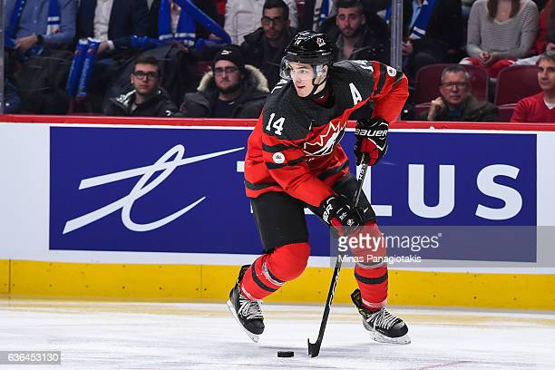 Mathew Barzal of Team Canada skates the puck during the IIHF exhibition game against Team Finland at the Bell Centre on December 19 2016 in Montreal...