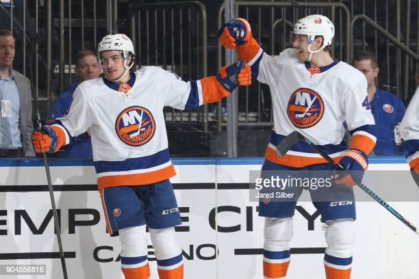 Mathew Barzal of the New York Islanders celebrates after scoring a goal in the second period against the New York Rangers at Madison Square Garden on...