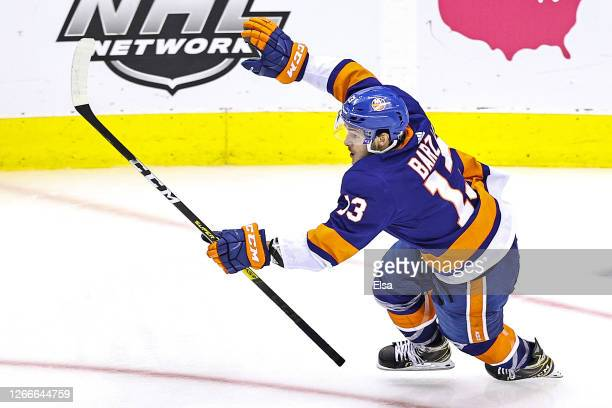 Mathew Barzal of the New York Islanders celebrates after scoring the game winning goal at 4:28 against the Washington Capitals during the first...