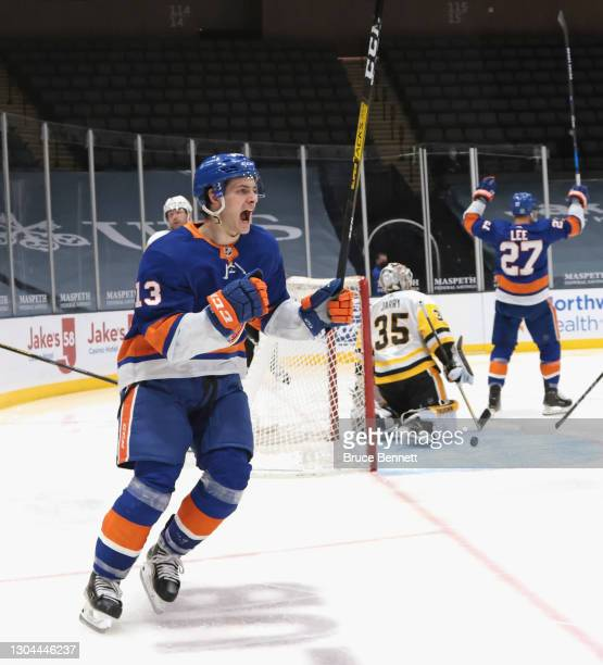 Mathew Barzal of the New York Islanders celebrates his goal at 1:34 of the second period against the Pittsburgh Penguins at the Nassau Coliseum on...