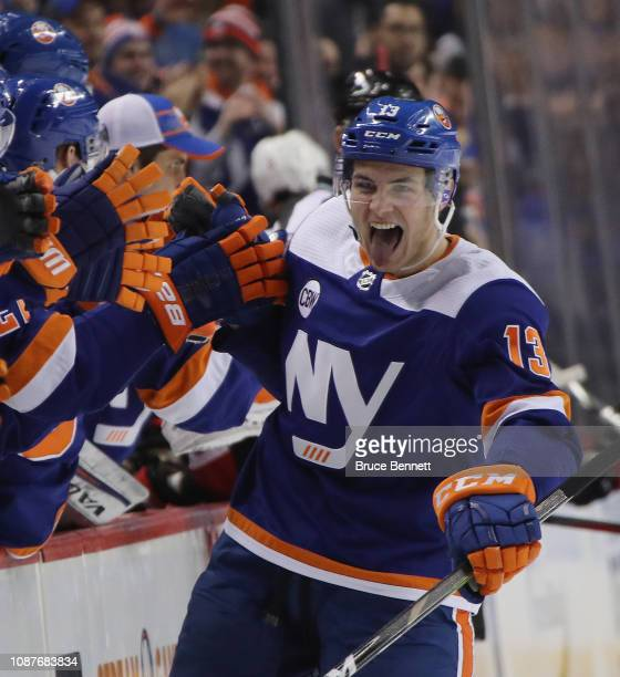 Mathew Barzal of the New York Islanders celebrates his goal at 451 of the third period against the Ottawa Senators at the Barclays Center on December...