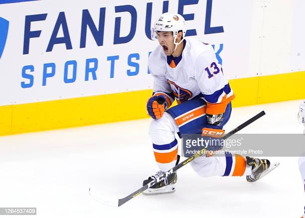 Mathew Barzal of the New York Islanders celebrates his goal in the third period against the Florida Panthers in Game Four of the Eastern Conference...