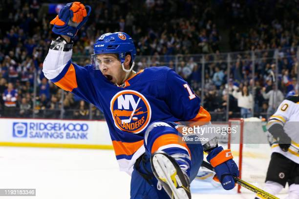 Mathew Barzal of the New York Islanders celebrates his third period goal against the Boston Bruins at Barclays Center on January 11, 2020 in New York...