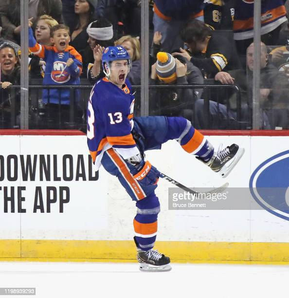 Mathew Barzal of the New York Islanders celebrates is goal at 9:33 of the third period against the Boston Bruins at the Barclays Center on January...