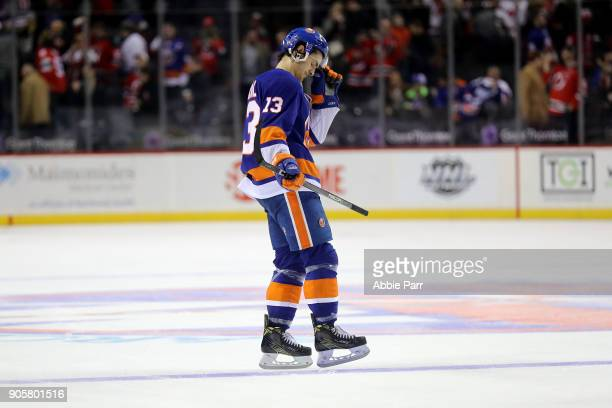 Mathew Barzal of the New York Islanders exits the ice following a 41 loss against the New Jersey Devils during their game at Barclays Center on...