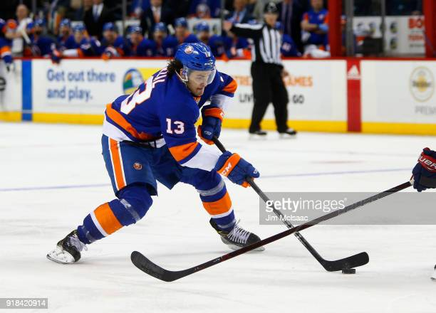 Mathew Barzal of the New York Islanders in action against the Columbus Blue Jackets at Barclays Center on February 13 2018 in New York City The Blue...
