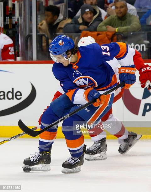 Mathew Barzal of the New York Islanders in action against the Detroit Red Wings at Barclays Center on February 9 2018 in New York City The Islanders...