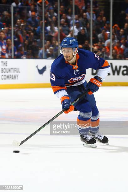Mathew Barzal of the New York Islanders in action against the Tampa Bay Lightning in Game Six of the Stanley Cup Semifinals of the 2021 Stanley Cup...
