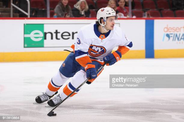 Mathew Barzal of the New York Islanders in action during the first period of the NHL game against the Arizona Coyotes at Gila River Arena on January...