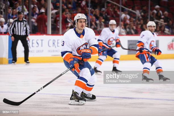Mathew Barzal of the New York Islanders in action during the NHL game against the Arizona Coyotes at Gila River Arena on January 22 2018 in Glendale...