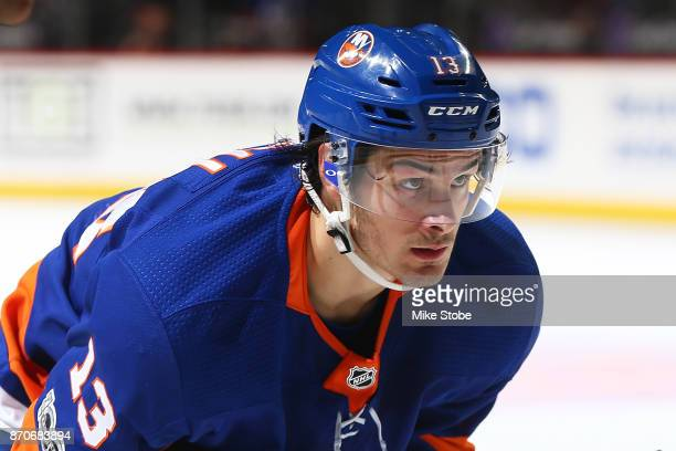Mathew Barzal of the New York Islanders lines up for a faceoff at Barclays Center on November 5 2017 in New York City