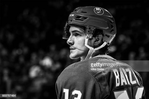 Mathew Barzal of the New York Islanders looks on during a game against the Carolina Hurricanes at Barclays Center on March 18 2018 in New York City