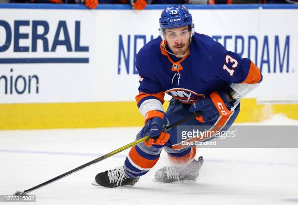 Mathew Barzal of the New York Islanders looks to make a play with the puck in the third period of Game Four of the Eastern Conference Final of the...
