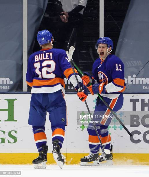 Mathew Barzal of the New York Islanders scores his third goal of the game for the hattrick against the Washington Capitals at 18:54 of the third...