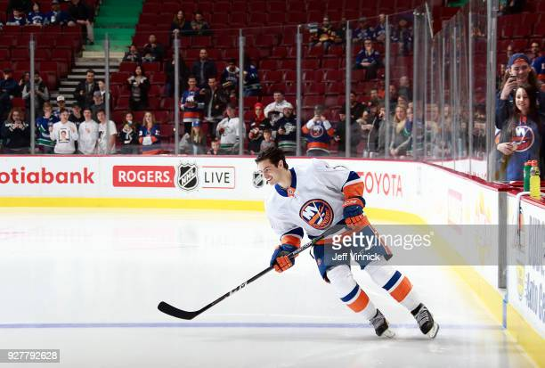 Mathew Barzal of the New York Islanders skates a lap during warmup before their NHL game against the Vancouver Canucks at Rogers Arena March 5 2018...