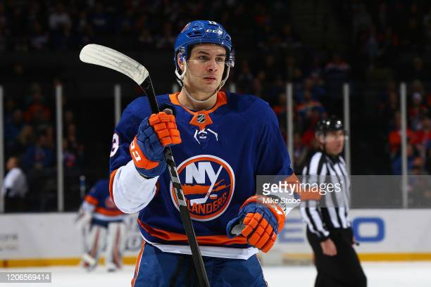 Mathew Barzal of the New York Islanders skates against the Carolina Hurricanes at NYCB Live's Nassau Coliseum on March 07, 2020 in Uniondale, New...