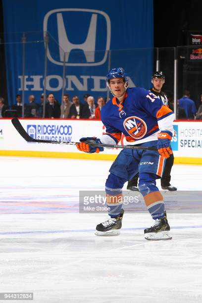 Mathew Barzal of the New York Islanders skates against the Philadelphia Flyers at Barclays Center on April 3 2018 in New York City New York Islanders...