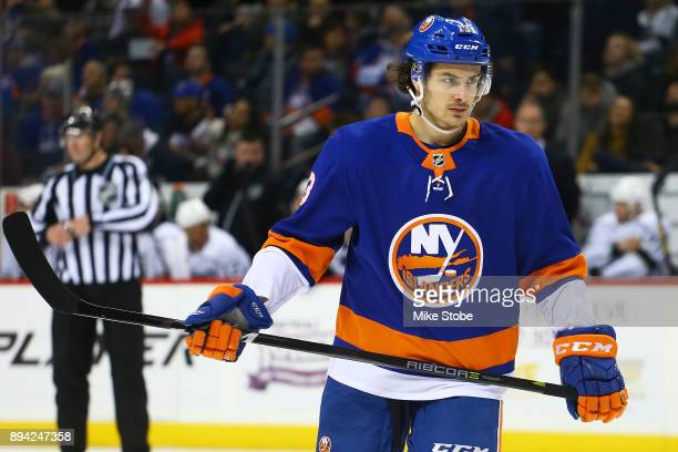 Mathew Barzal of the New York Islanders skates against the Los Angeles Kings at Barclays Center on December 16 2017 in New York City New York...