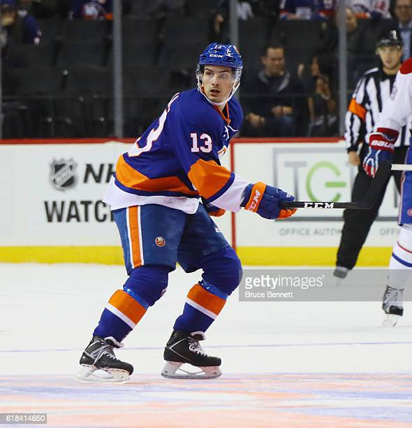 Mathew Barzal of the New York Islanders skates against the Montreal Canadiens at the Barclays Center on October 26 2016 in the Brooklyn borough of...