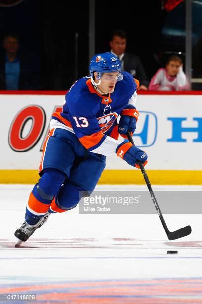 Mathew Barzal of the New York Islanders skates against the Nashville Predators at Barclays Center on October 6 2018 the Brooklyn borough of New York...