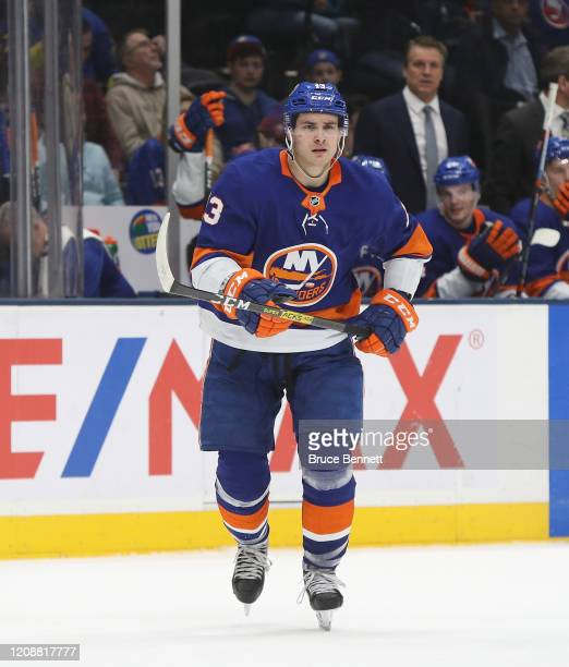 Mathew Barzal of the New York Islanders skates against the New York Rangers at NYCB Live's Nassau Coliseum on February 25, 2020 in Uniondale, New...