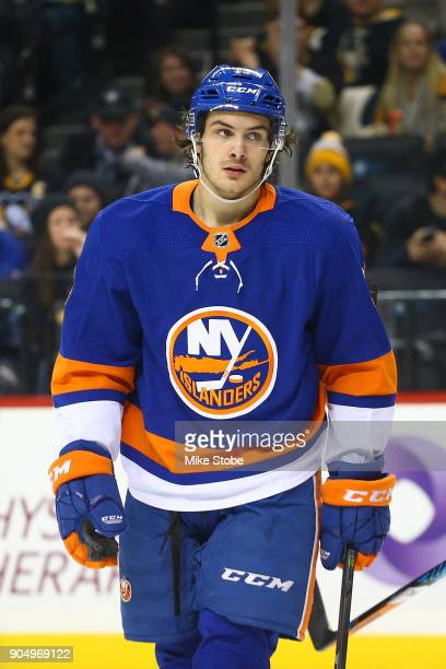 Mathew Barzal of the New York Islanders skates against the Pittsburgh Penguins at Barclays Center on January 5 2018 in New York City Pittsburgh...