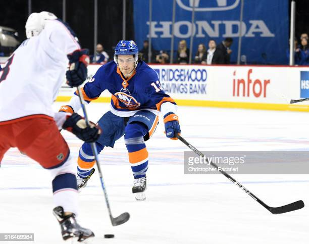 Mathew Barzal of the New York Islanders skates during the first period against the Columbus Blue Jackets at Barclays Center on February 3 2018 in New...